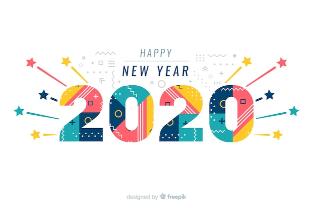 Happy new year 2020 on white background