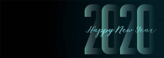 Happy new year 2020 wide dark banner