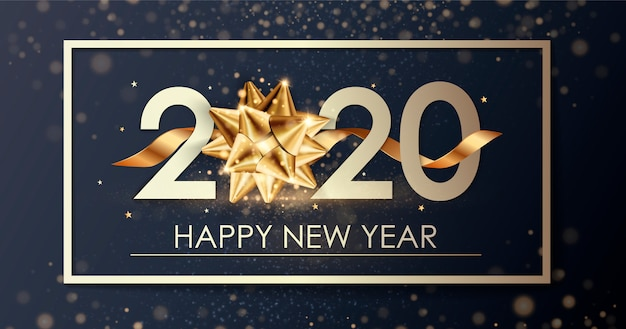 Happy new year 2020 winter holiday greeting card  template.