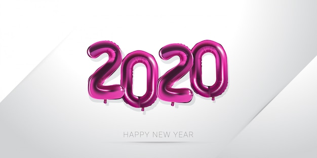 Happy new year 2020 with balloon numeral on white