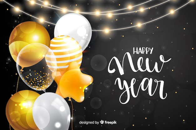 Happy new year 2020 with balloons