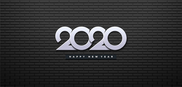 Happy new year 2020 with black wall and white numbers.