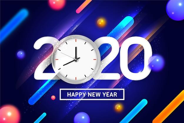 時計と動的な背景を持つ新年あけましておめでとうございます2020