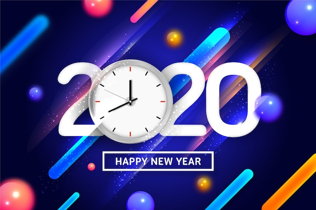 Happy new year 2020 with clock and dynamic background
