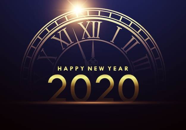 Happy new year 2020 with a clock showing the beginning of the new year.