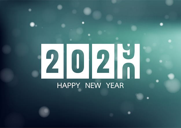 Happy new year 2020 with colorful bokeh