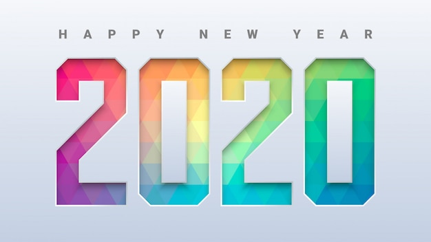 Happy new year 2020 with colorful low poly background