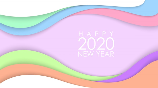 Happy new year 2020 with colorful papercut