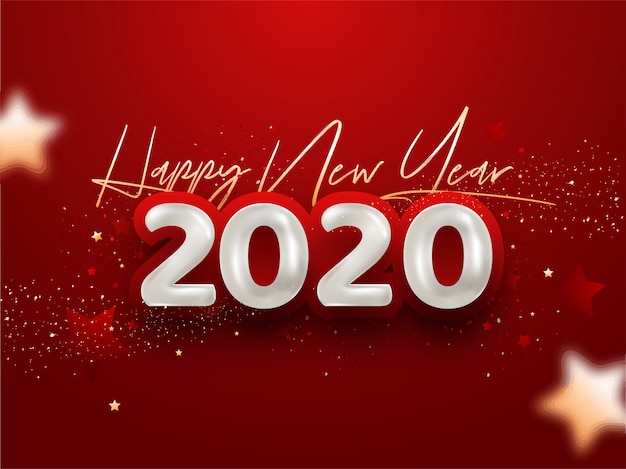 Happy new year 2020 with confetti on red