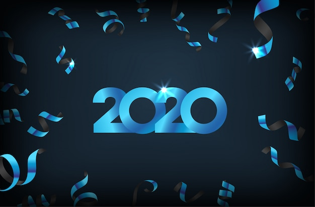 Happy new year 2020 with falling confetti