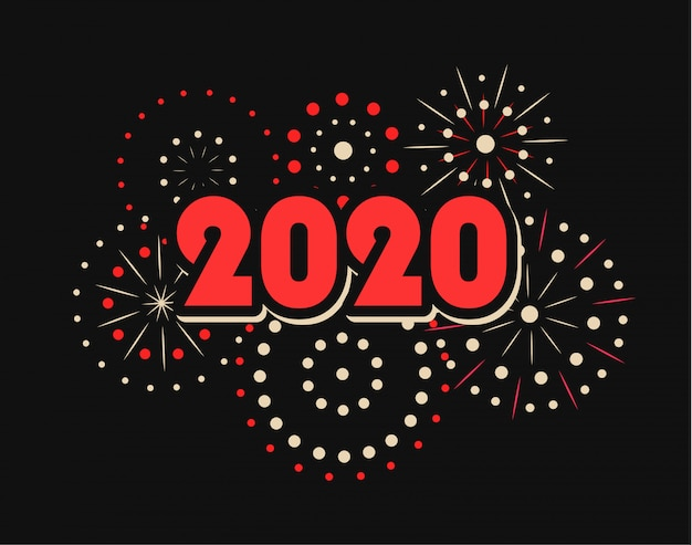 Happy new year 2020 with fireworks