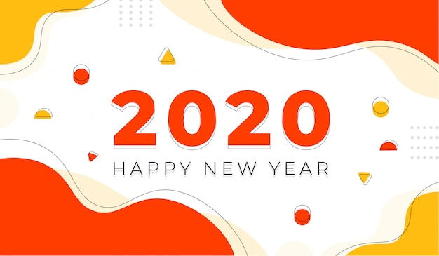 Happy new year 2020 with geometric background