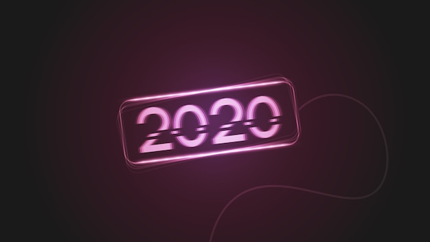 Happy new year 2020 with glitch effects and glowing lights