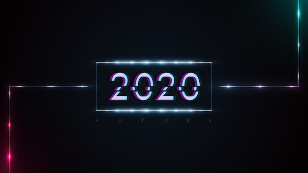 Happy new year 2020 with glitching effects and  futuristic glowing neon lights
