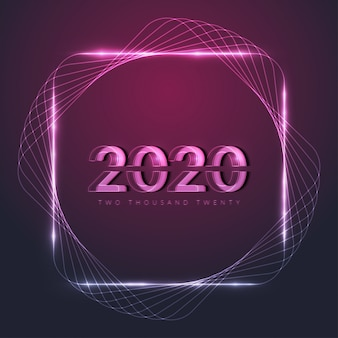 Happy new year 2020 with glowing neon frame