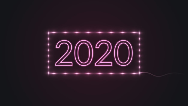 Happy new year 2020 with glowing neon lights