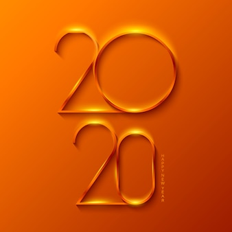 Happy new year 2020 with gold colors