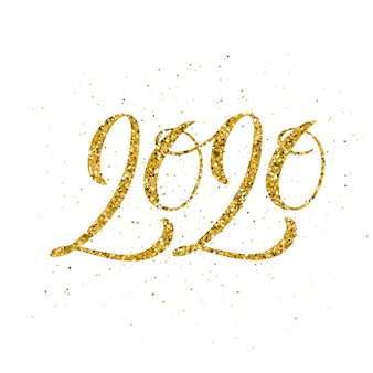 Happy new year 2020 with hand drawn lettering.