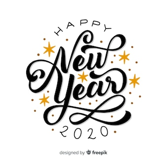 Happy new year 2020 with lettering