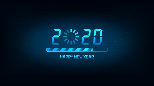 Happy new year 2020 with loading icon and bar on blue color background