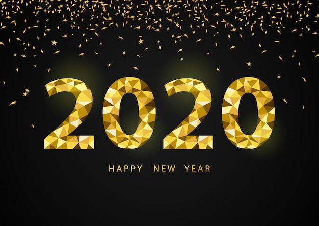 Happy new year 2020, with polygon golden number 2020.