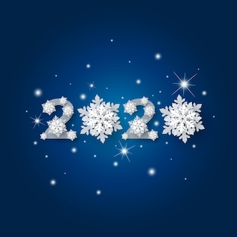 Happy new year 2020 with snowflake and snow falling with bokeh light