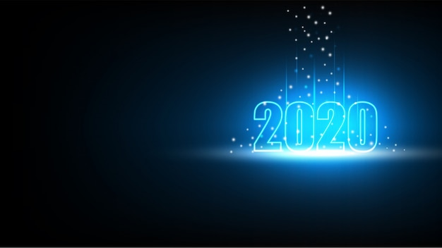 Happy new year 2020 with technology abstract futuristic background