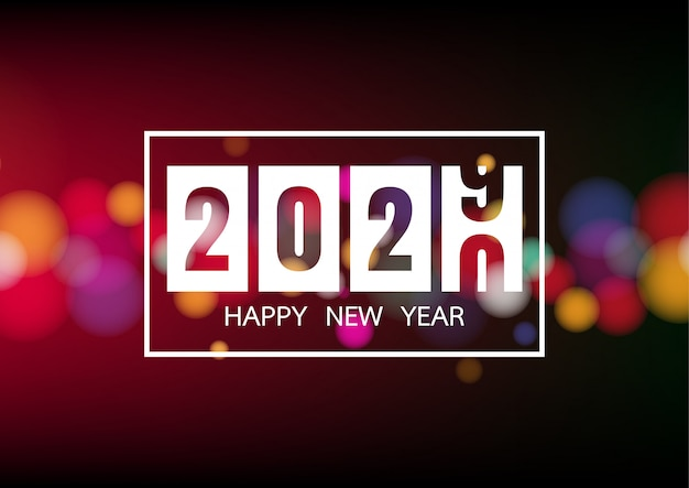 Happy new year 2020 with white bokeh lights for holiday poster