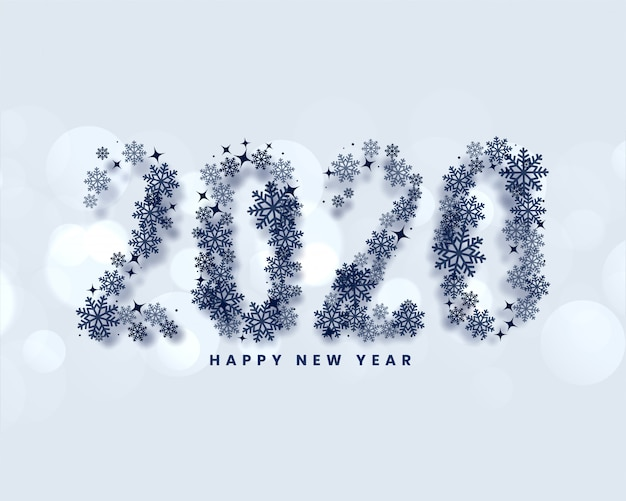 Happy new year 2020 written in snowflakes style