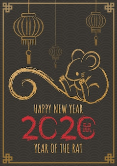 Happy new year 2020, year of the rat. hand drawn calligraphy rat.