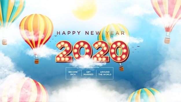 Happy new year 2020テキストムービースタイル