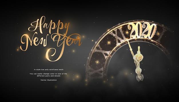 Happy new year 2020. замок в стиле низкополигональная каркас