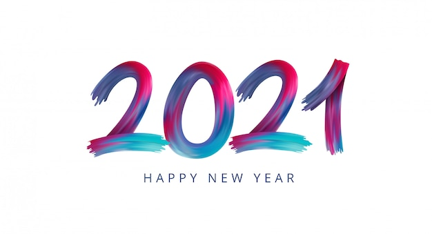 Happy new year 2021 acrylic paint rainbow colorful numbers