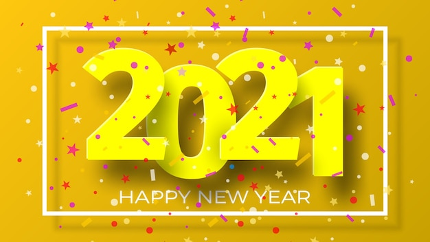 Happy new year 2021 background with confetti. greeting card design.
