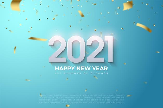 С новым годом 2021 фон с тиснеными трехмерными фигурами и россыпью небольшой золотой бумаги