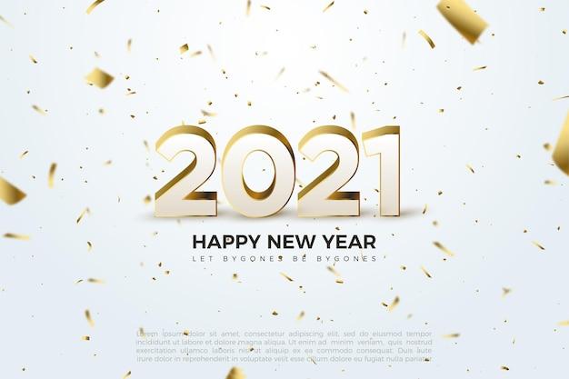 새 해 복 많이 받으세요 2021 배경 양각 번호와 골드 도금