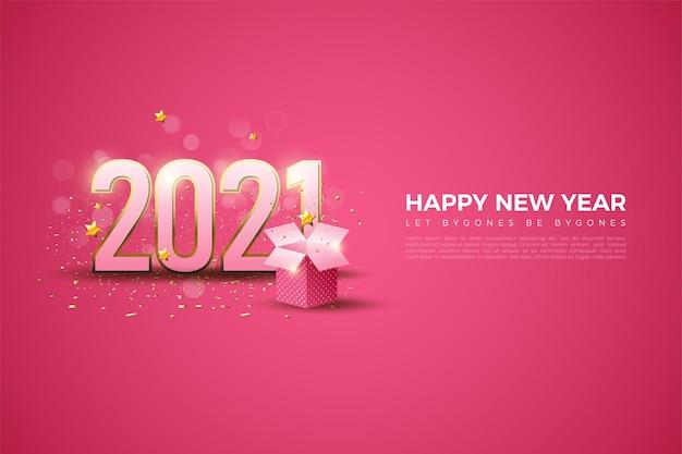 골드 스트라이프 숫자와 선물 상자가있는 새해 복 많이 받으세요 2021 배경