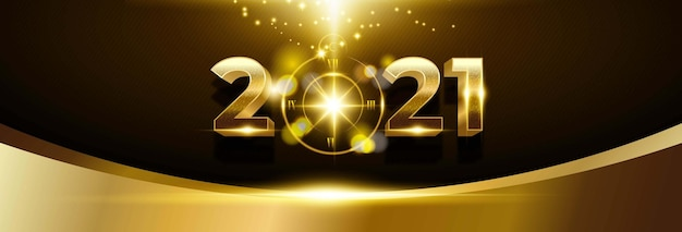 Happy new year 2021 background with golden number and clock