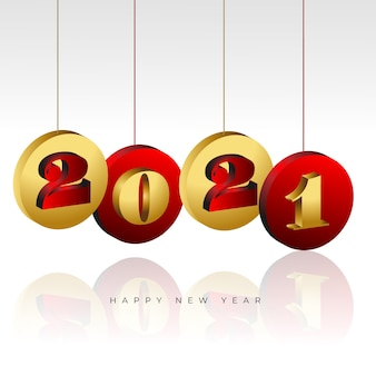 Happy new year 2021 background with hanging coins