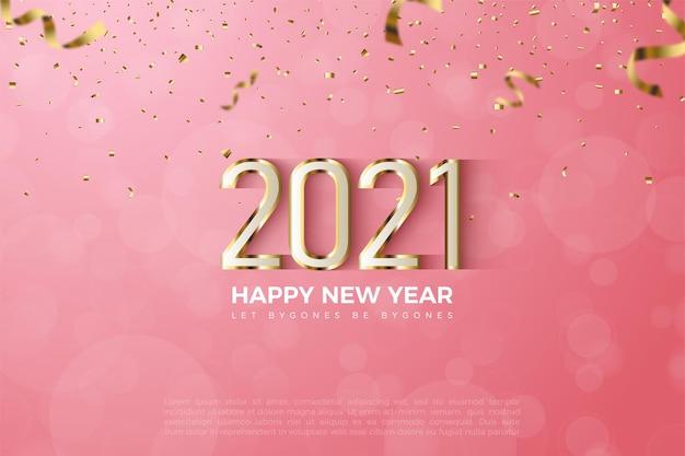 数字と豪華な光沢のあるゴールドレイヤーで新年あけましておめでとうございます2021年の背景