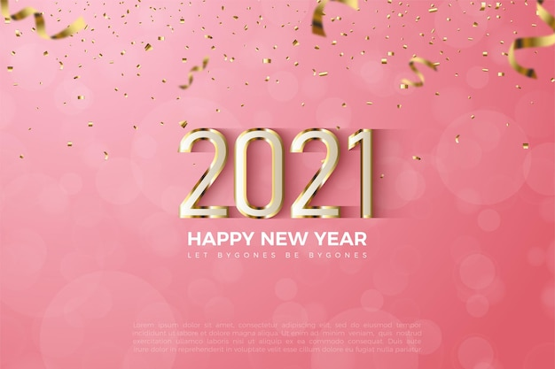 Happy new year 2021 background with numbers and luxury shiny gold layers
