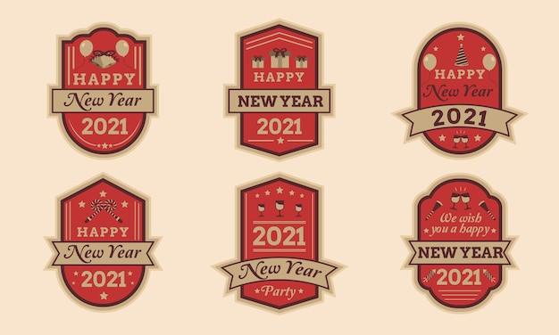 Happy new year 2021 badge set