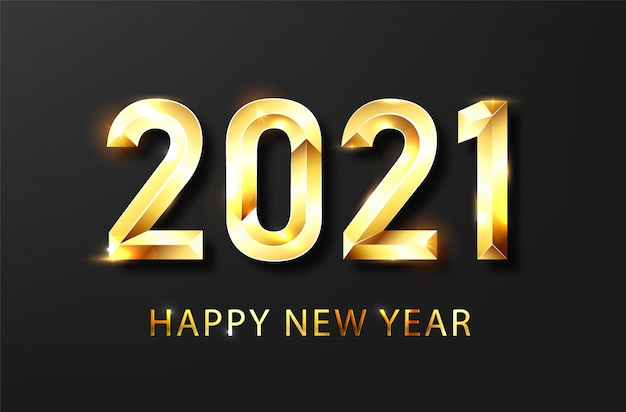 Happy new year 2021 banner.golden vector luxury text 2021 happy new year.
