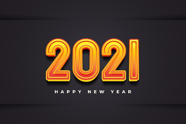 Happy new year 2021 banner with 3d burned numbers on black paper