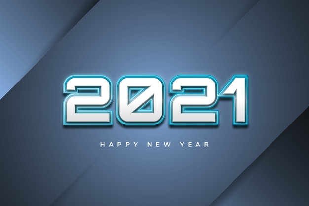 Happy new year 2021 banner with futuristic concept on abstract background