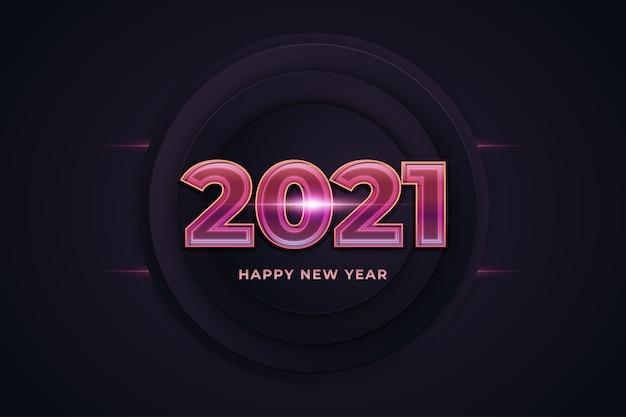 輝くネオンテキストと幸せな新年2021バナー