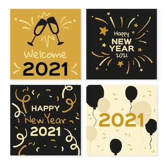 Happy new year 2021 cards with balloons and fireworks