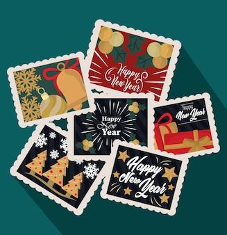 明けましておめでとうございます2021、お祝いと装飾切手アイコンセットイラスト
