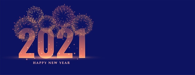 Happy new year 2021 celebration fireworks banner