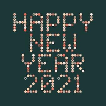 新年あけましておめでとうございます2021サークルピクセルアートのタイポグラフィ。休日のグリーティングカードイラスト。ストリップ、サークル、ドットからの手紙。電子スコアボードのような幾何学的な新年のポスター。